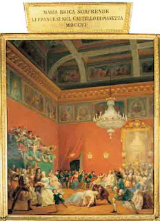 The painting by Francesco Gonin shows Maria leading the soldiers into the hall