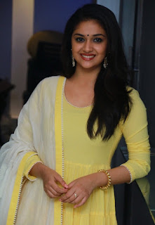 Keerthy Suresh in Yellow Dress with Cute and Awesome Lovely Smile at Press Meet 3