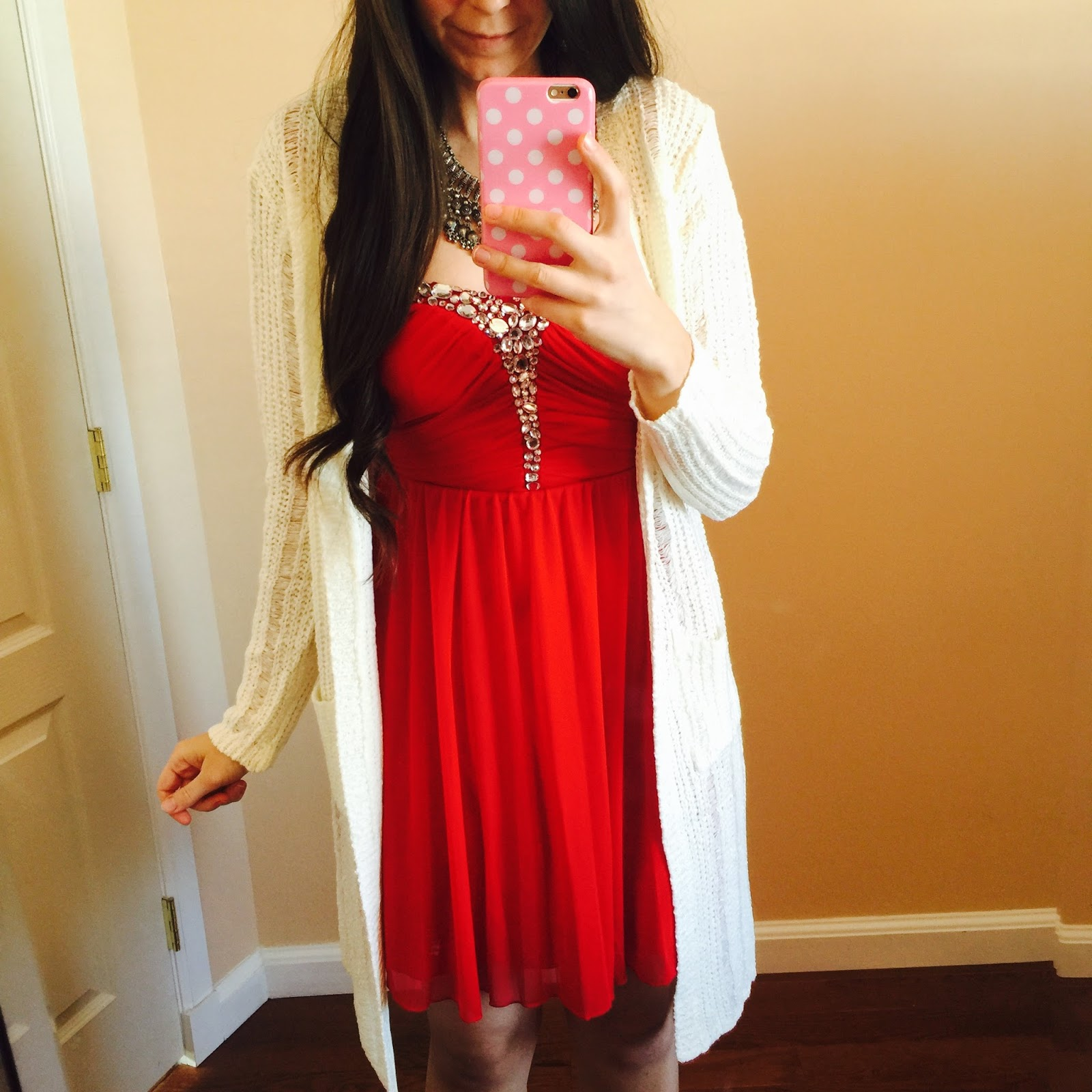 Curvy Outfit Ideas | Petite Outfit Ideas | Plus Size Fashion | Summer Fashion | OOTD | Professional Casual Chic Fashion and Style Inspiration | How To Style a Red Sequined Dress with a white cardigan