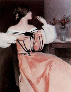 John White Alexander - Lady in a Pink Dress