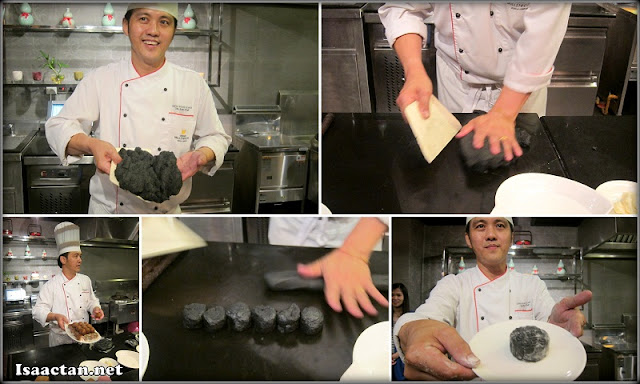 Chef Thye from Grand Millennium demonstrating to us how to whip up a snow skin mooncake within a couple of steps