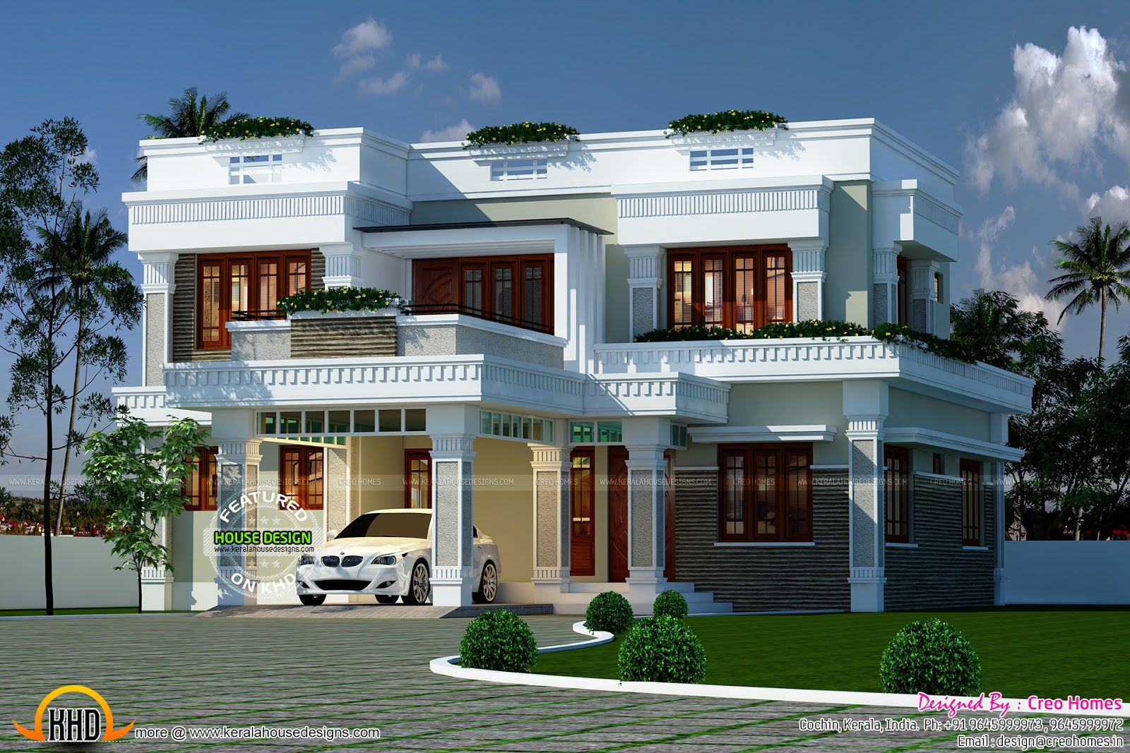 Decorative flat roof home plan - Kerala home design and ...