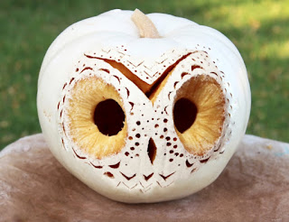 white owl carved pumpkin