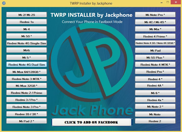 One Click Install TWRP All Xiaomi By Jackphone