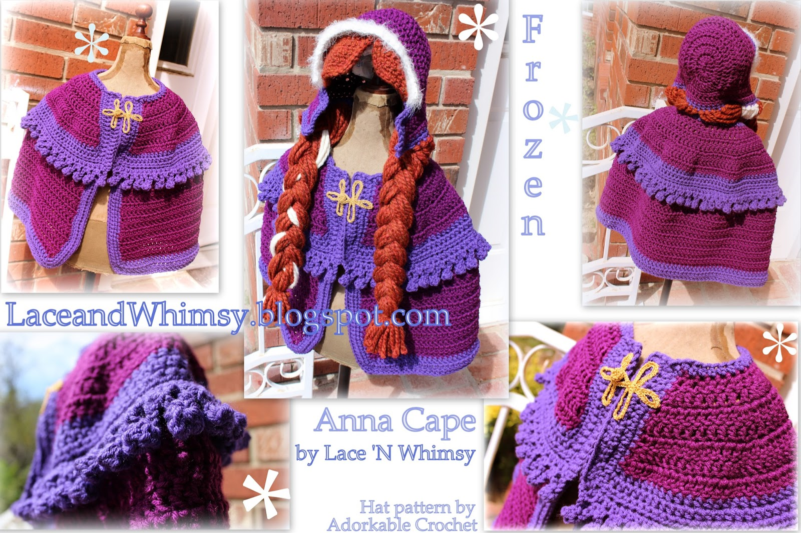 Free Crochet Pattern Frozen Anna Cape Costume & Lace and Whimsy: Free Crochet Pattern Frozen Anna Cape Costume