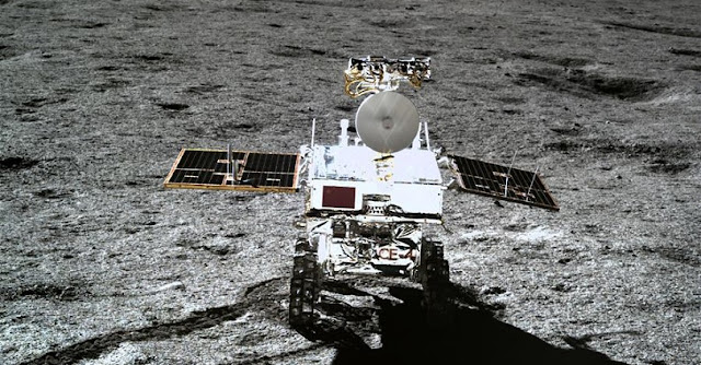 Photo taken by the lander of the Chang'e-4 probe on Jan. 11, 2019 shows the rover Yutu-2 (Jade Rabbit-2). Credit: Xinhua/China National Space Administration