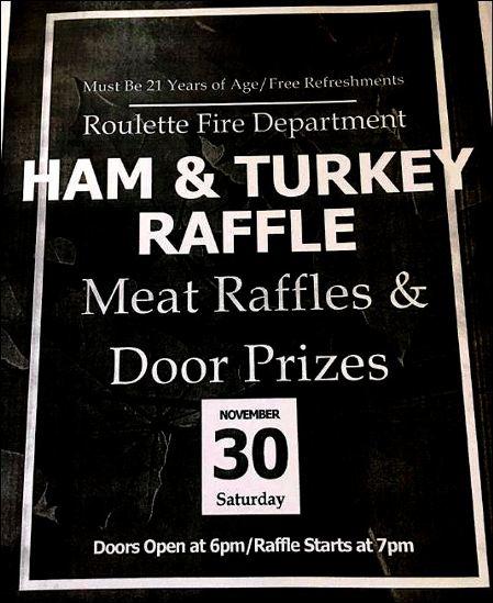 11-30 Ham & Turkey Raffle, Roulette VFD