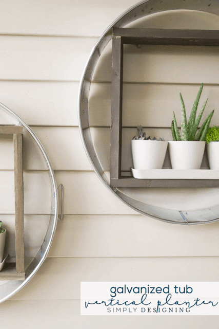 How to make modern farmhouse shelves out of galvanized tubs.