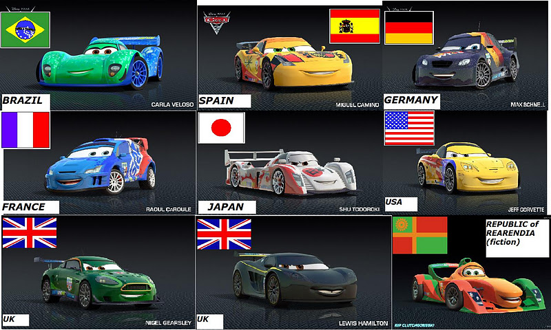 Cars 2 race car names and pictures