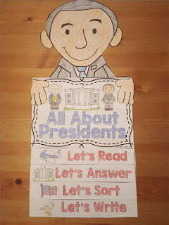 Presidents Day flip book- Presidents Day Lessons and Activities- with a link to a literacy center FREEBIE
