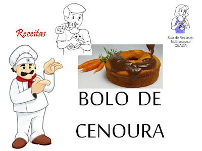receitas de bolo de cenoura em LIBRAS