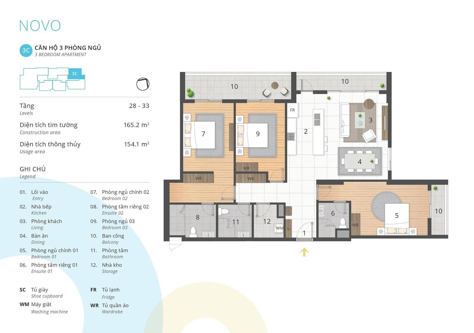 Mặt bằng căn hộ 3 phòng ngủ 154 m2 thông thủy tòa NOVO dự án Kosmo