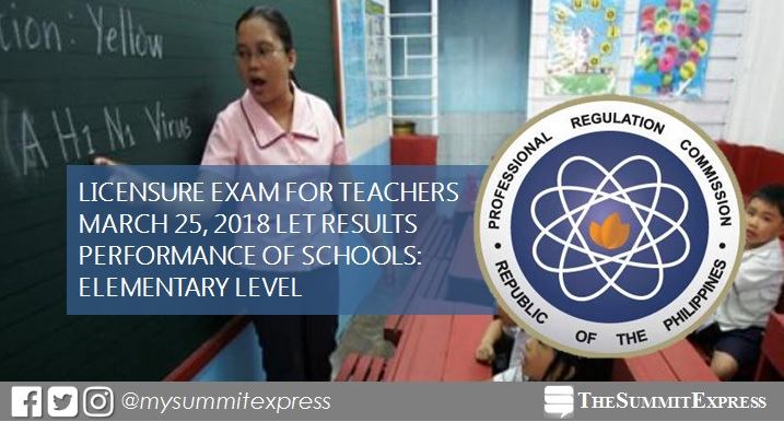 PERFORMANCE OF SCHOOLS: March 2018 LET Elementary board exam result