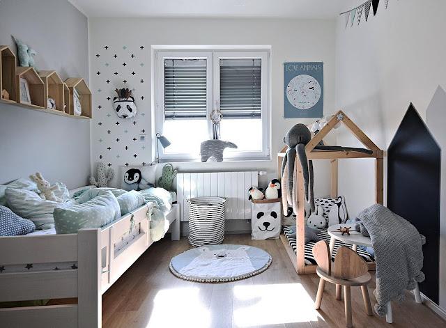 Habitación unisex infantil gris y menta