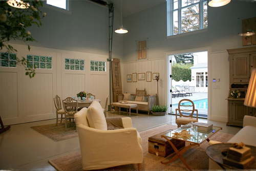 Interior of pool house in traditional home by Giannetti