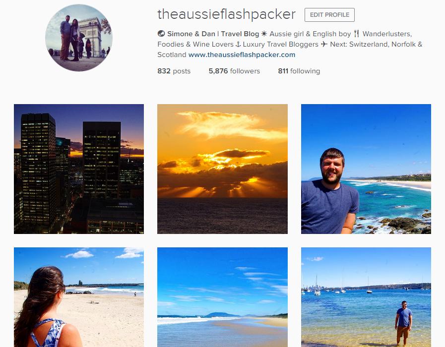 the Aussie Flashpackers Instagram Profile