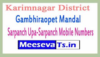 Gambhiraopet Mandal Sarpanch Upa-Sarpanch Mobile Numbers List Karimnagar District in Telangana State