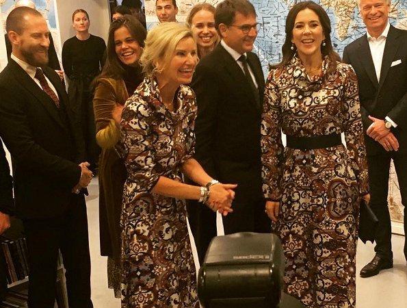 Crown Princess Mary and Danish fashion designer Lærke Andersen at Charlottenborg Exhibition Hall