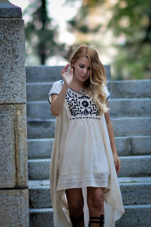 Simona Mar: High Low Embroidered Dress + Gladiators