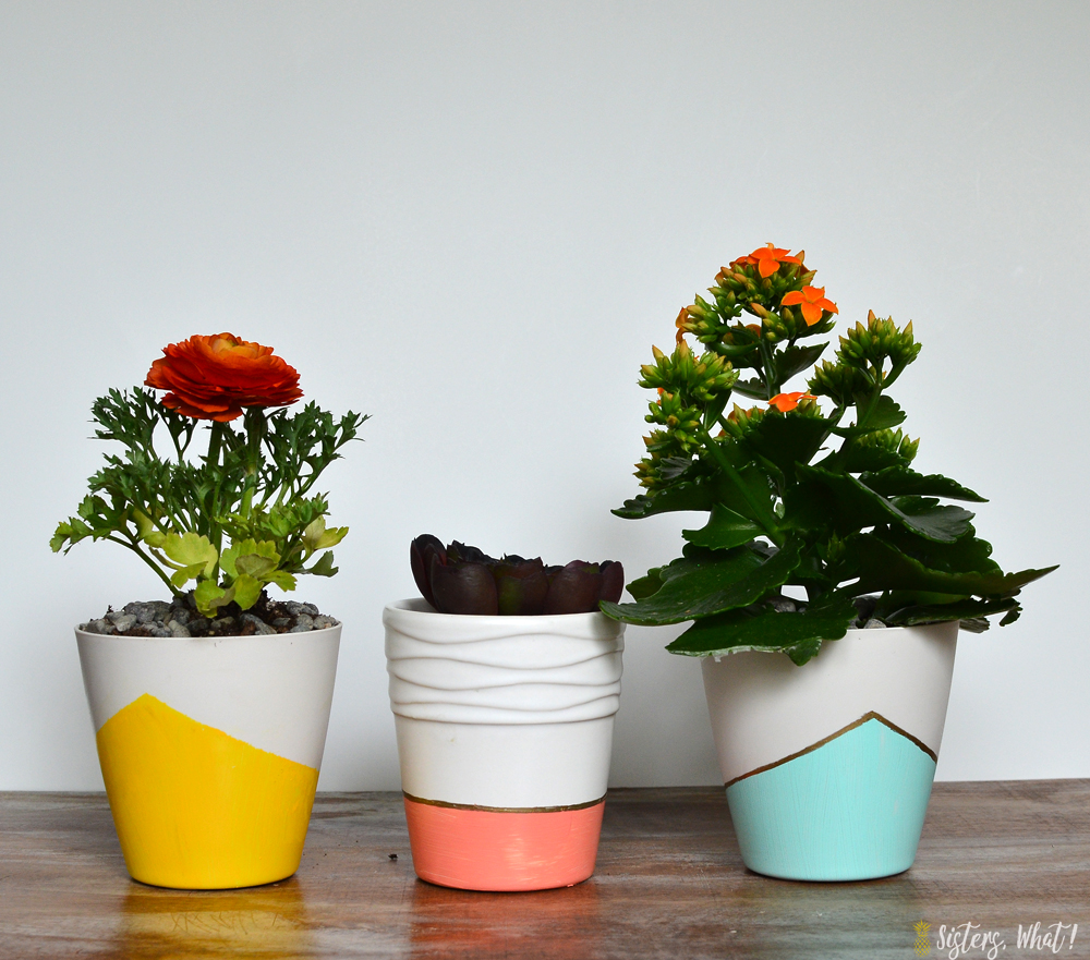 color block paint plastic and ceramic pots using frog tape and acrylic paint