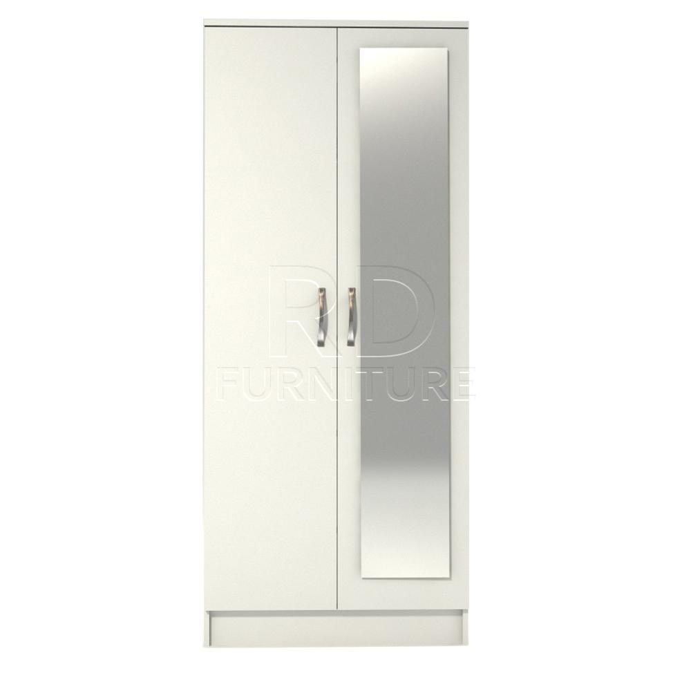 Classic 2 Door Mirrored Wardrobe White Finish Rdfurniture