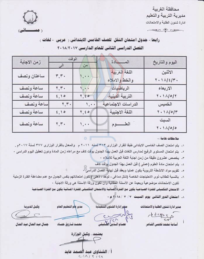 جدول امتحانات الصف الخامس الابتدائي 2018 الترم الثاني محافظة الغربية