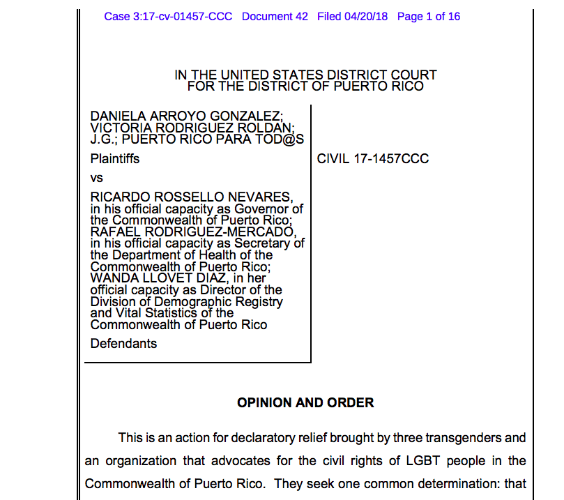 Transgender Workplace Law Diversity Puerto Rico Federal Court