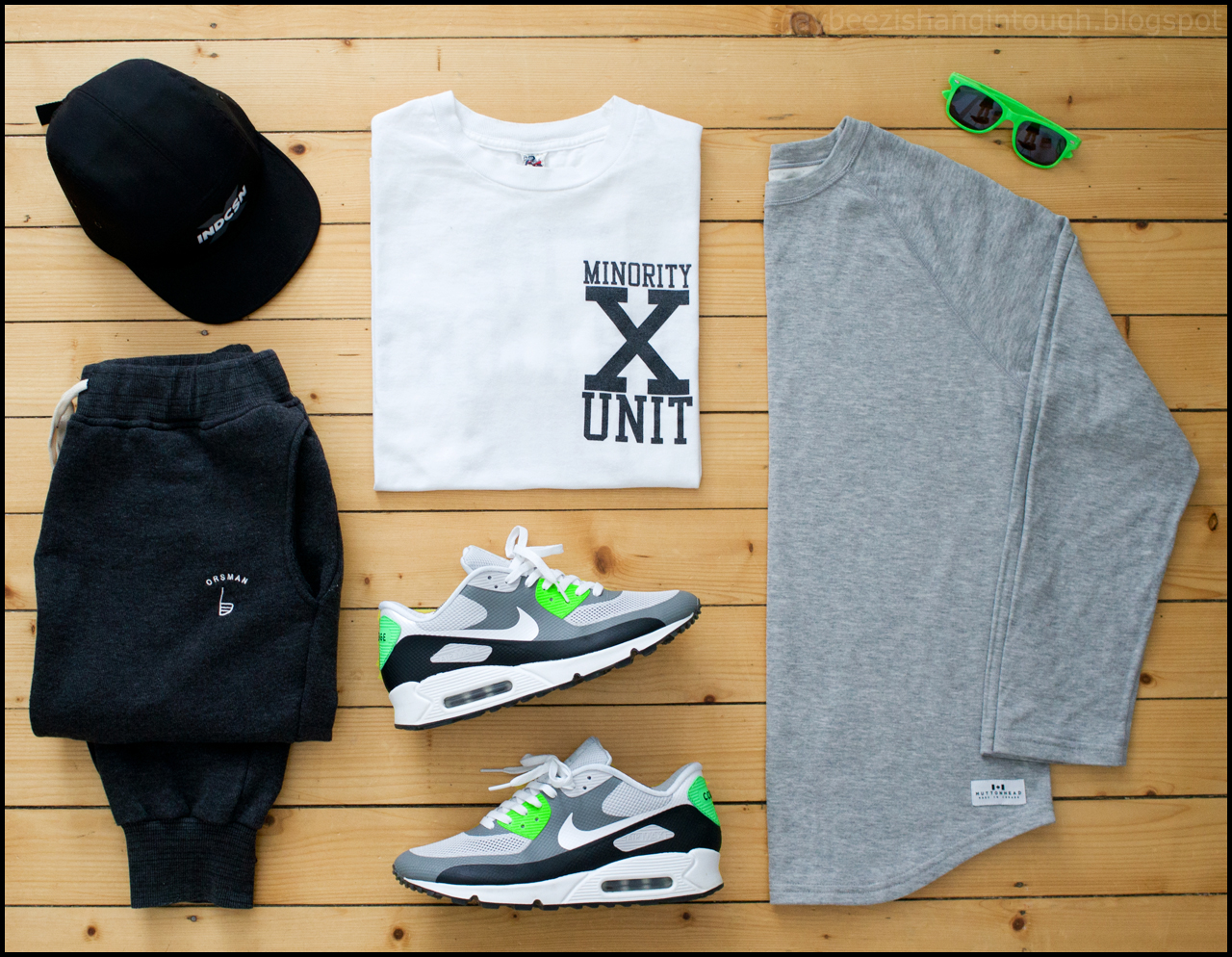 6a307b4491b two days ago  muttonhead longsleeve. minority unit tee. orsman park jogger  pants. nike iD air max 90 hyperfuse. indcsn 5 panel hat. chocolate shades.