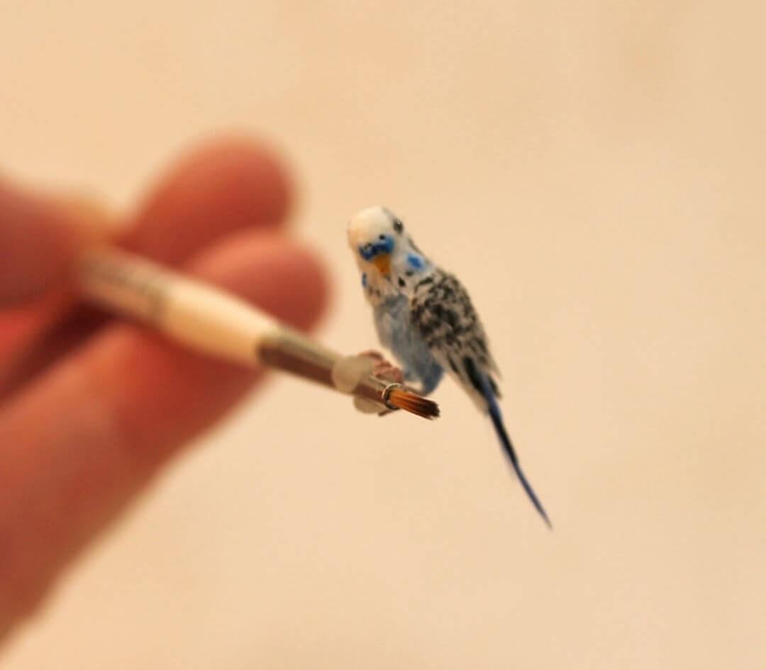 09-Blue-Parakeet-Budgie-Katie-Doka-Hand-Sculpted-Dollhouse-Miniature-Animals-www-designstack-co