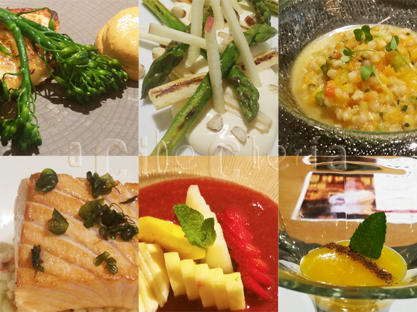 Provolone, espárragos y palmito, risoteo de trigo sarraceno, salmón, deliciosos postres