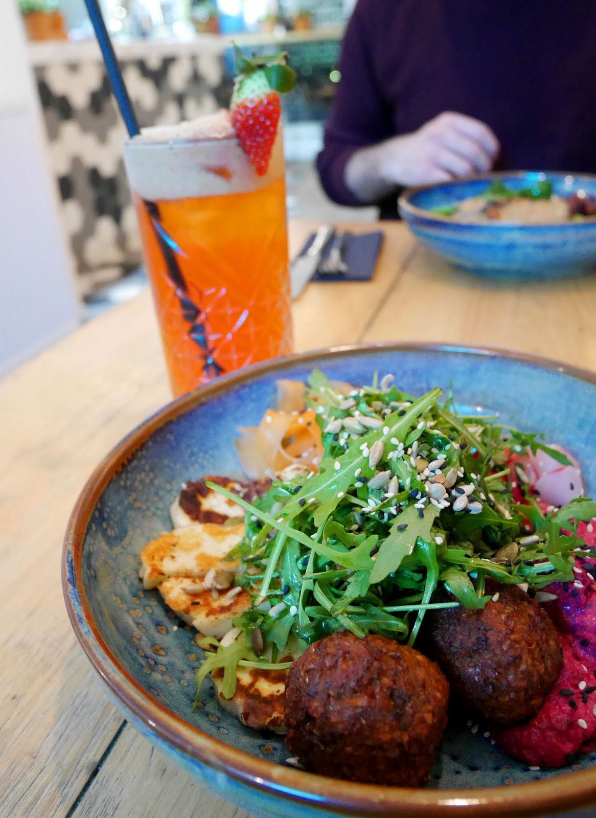 Strawbazzle fresh juice and a Falafel and Halloumi bowl at The Skinny Kitchen in Canterbury, Kent
