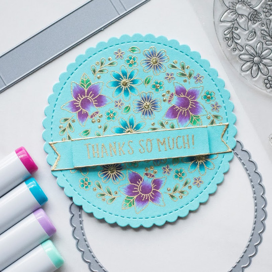 Thank You Floral Circle Card by June Guest Designer Amy Tollner   Floral Roundabout Stamp Set, Circle Frames Die Set, and Banner Trio Die Set by Newton's Nook Designs #newtonsnook #handmade