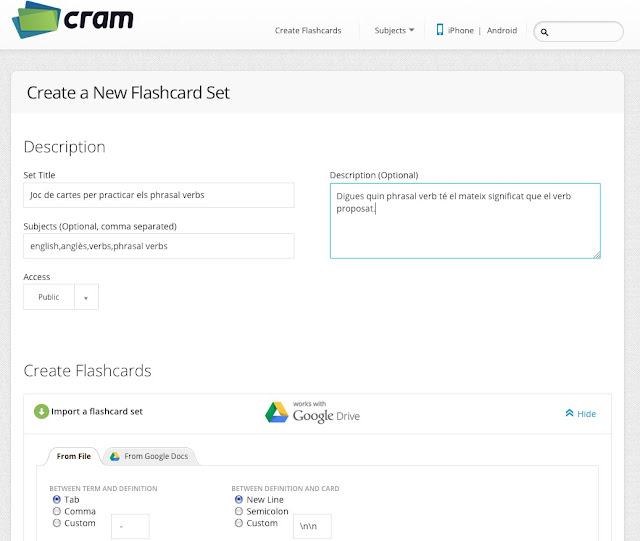 http://www.cram.com/flashcards/create