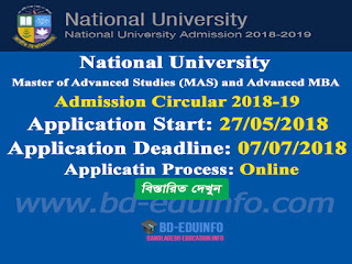 Master of Advanced Studies (MAS) and Advanced MBA admission Circular 2018-19