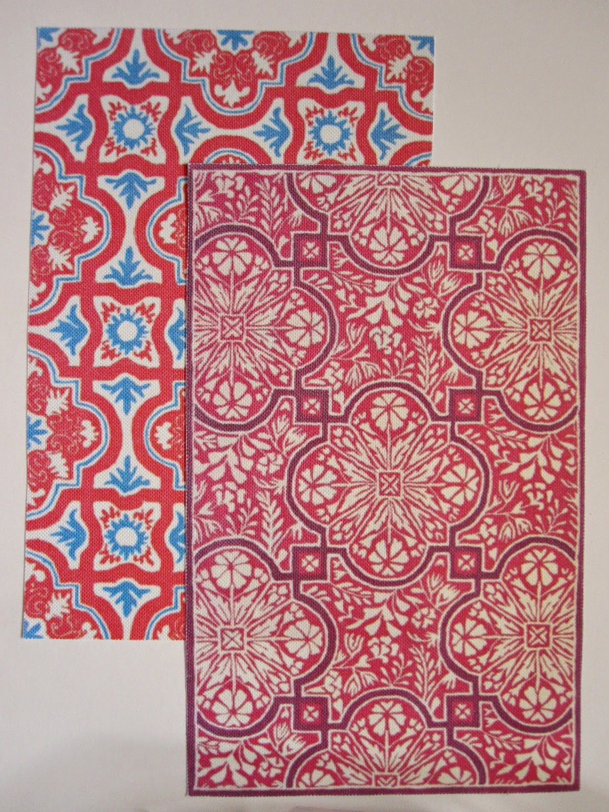 Two large miniature rugs, printed on canvas paper.