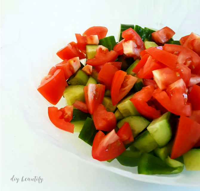 Looking for a simple and tasty salad that is packed full of veggies? This Greek Salad fits the bill. Get the recipe at www.diybeautify.com!