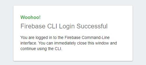 Screenshot login firebase CLI Success
