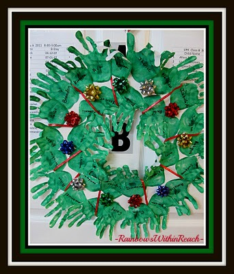 photo of: Christmas Wreath from Painted Handprints at PreK+K Sharing