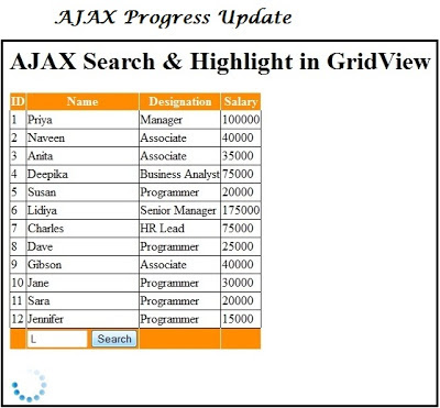 AJAX Search in Gridview