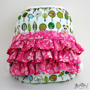 Sweet Panda Forest Ruffled Diaper Cover by Brookiellen Designs