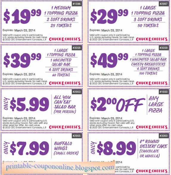 Chuck e cheese coupons april 2019
