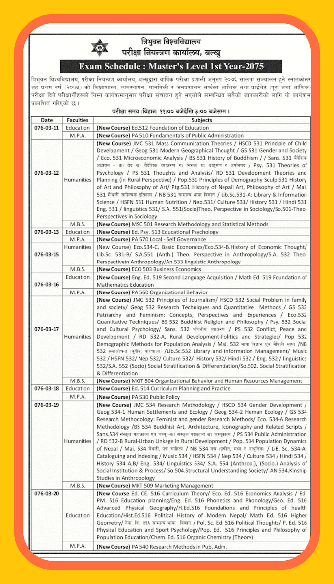 Exam shedule for master Level first year