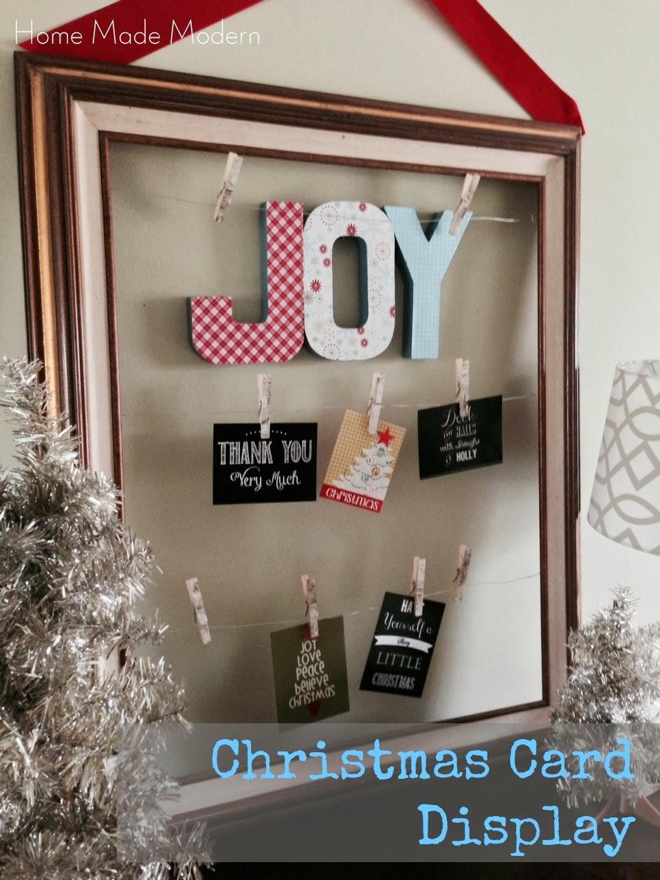 Home made modern christmas card display and gift ideas - Christmas card display ideas ...