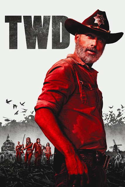 Picture of an apocalyptic land with zombies and the main characters in red with a Sheriff in the forefront