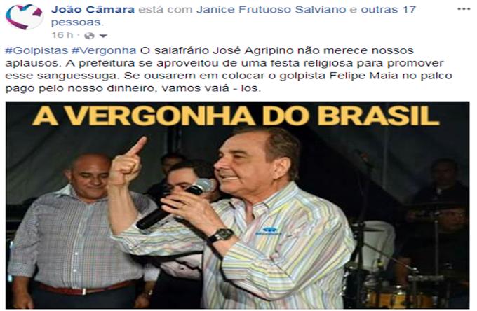 Políticos que votaram contra o trabalhador deve pensar duas vezes antes de vim em João Câmara, imagens que viralizaram nas redes sociais camarense.