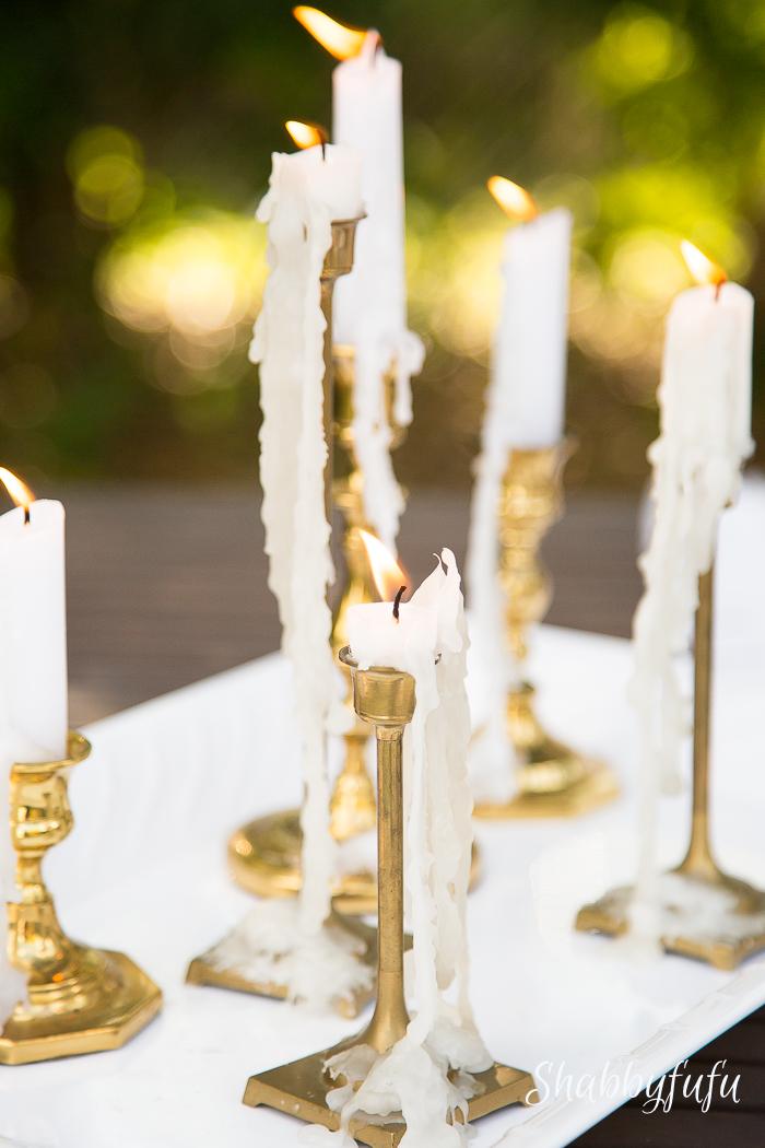 drippy candles vintage brass