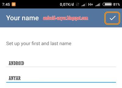 Mengisi nama akun Telegram di Android