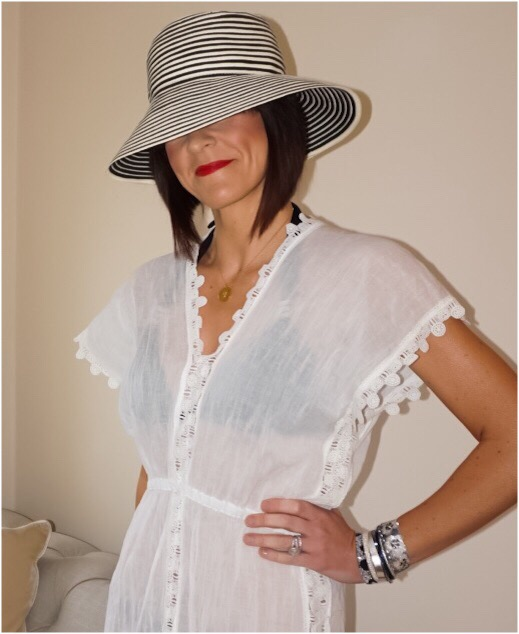 My Midlife Fashion, Coco Bay, Seafolly Tidal Wave Field of Dreams Dress in White, Baku black grecian miami bikini, baku black grecian bikini pant, hipanema tahiti bracelet, zara stripe monochrome weave sun hat, havaiana slim animal flip flops