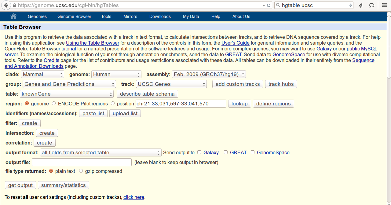 Exporting Ideogram information from UCSC table browser