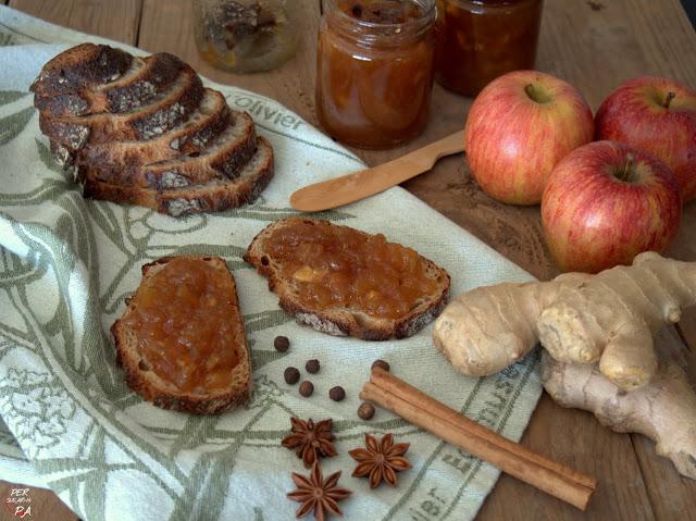Deliciosa mermelada de manzanas y jengibre, con el toque aromático de la canela, el anís estrellado y la oimienta de Jamaica.